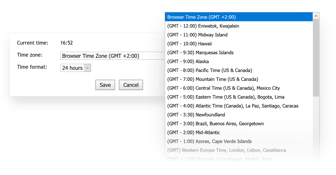 The MetaQuotes calendar allows changing the time zone manually