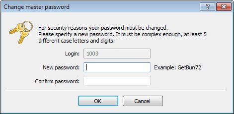 Forced change of the master password