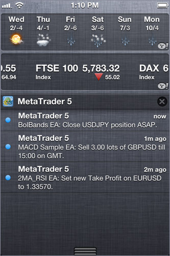 MetaTrader 5's Notifications in iPhone