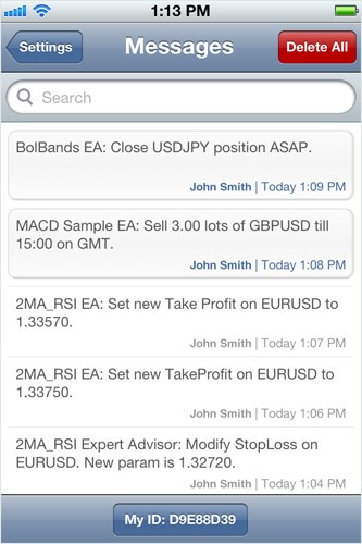 Trading Robots' Notifications in MetaTrader 5 iPhone