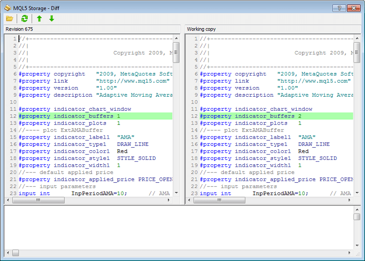 Added the window displaying the differences between a source text local file