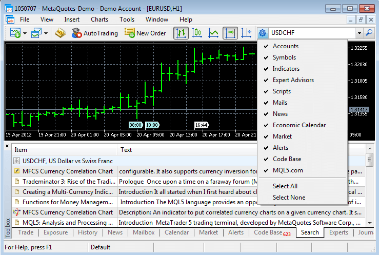 Global search in the Client Terminal and at MQL5.com