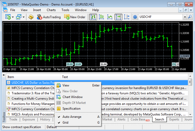 Search result in the MetaTrader 5 Client Terminal