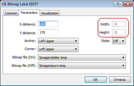 "Added display of ""Label"" and ""Bitmap Label"" graphical objects sizes in their properties dialog"