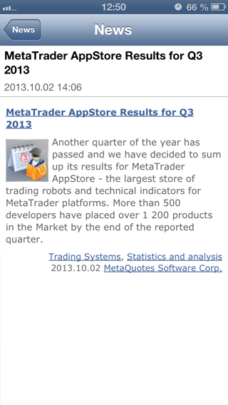News in MetaTrader 5 for iOS