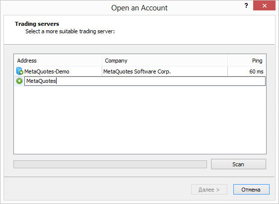Improved scanning and searching for servers in demo account opening dialog