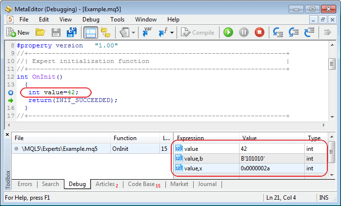 Added ability to format the output of integers in the debugger