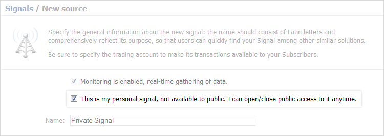 Private Monitoring Included in Trading Signals