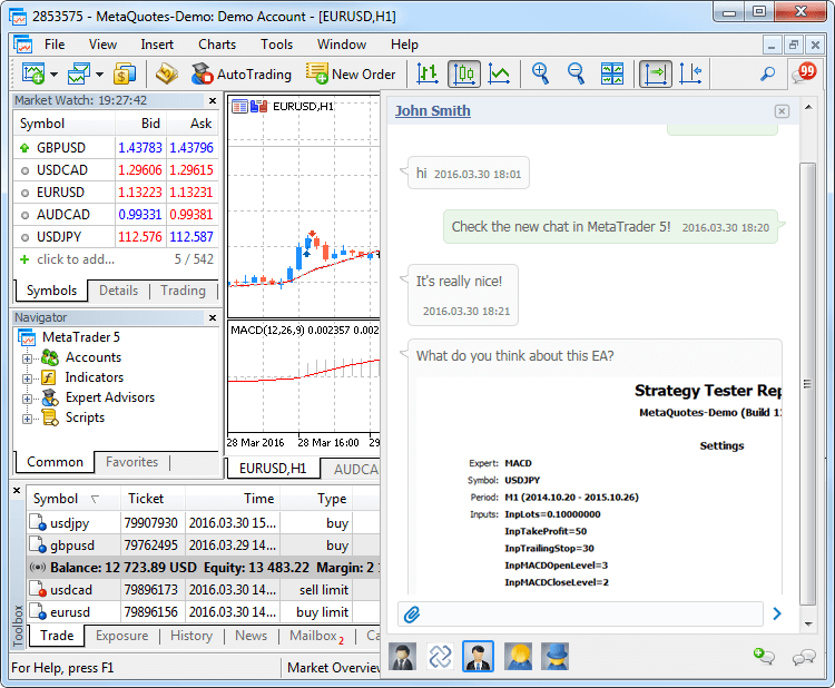 The built-in Chat in MetaTrader 5