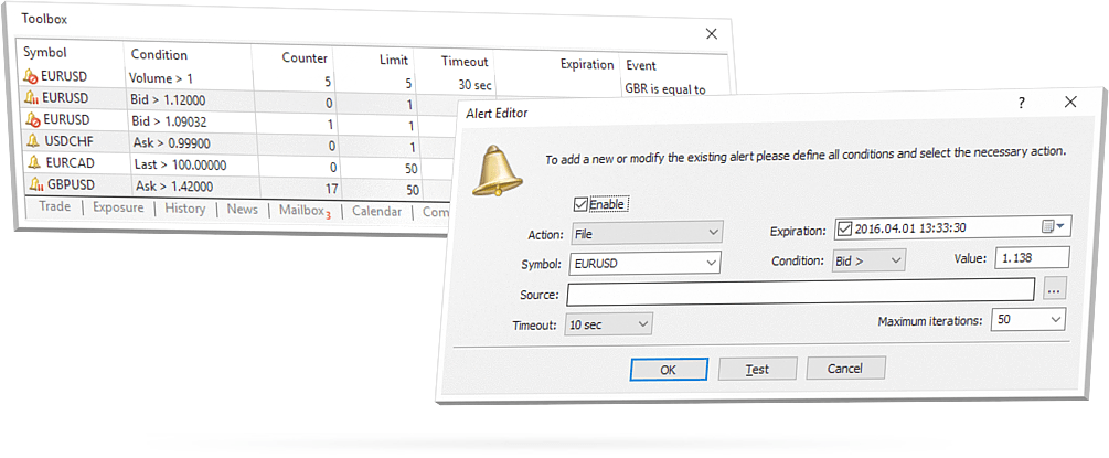 Set an alert in MetaTrader 5, so that you never miss a single trading opportunity