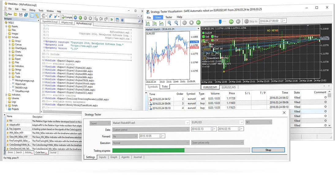 MQL5 IDE in MetaTrader 5 allows you to create, debug, test, optimize, and execute trading robots