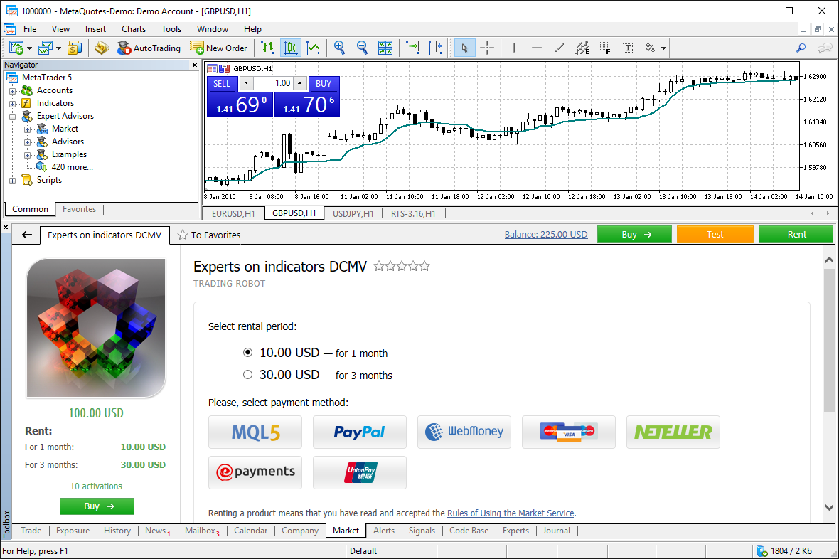 Purchase trading robots and technical indicators from the Market using your favorite payment method