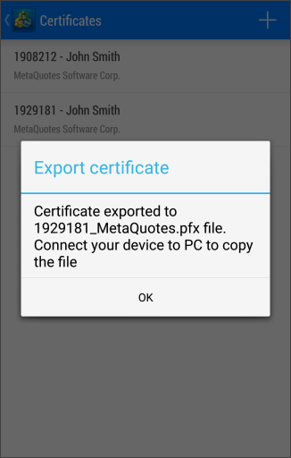 Certificate exported