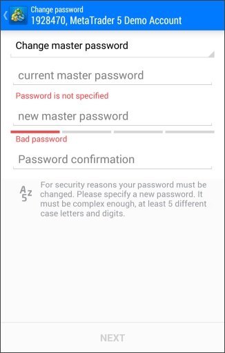 Changing the Master Password
