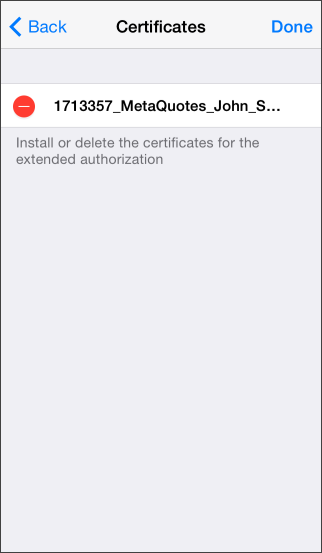 Deleting certificate