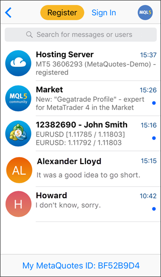 Messages - Settings - MetaTrader 5