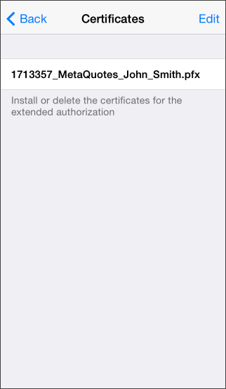 Not installed certificates