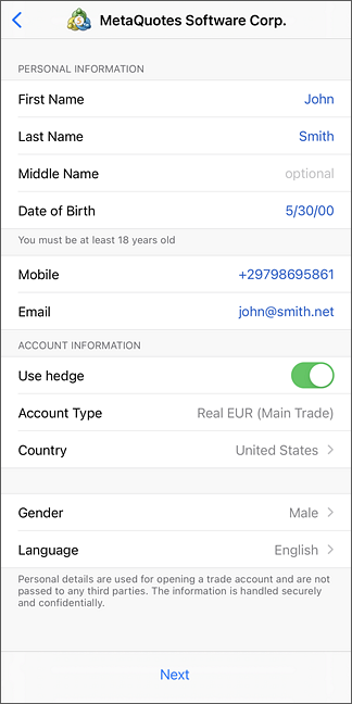Data for Opening a Live Account