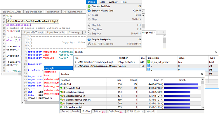 MetaEditor has everything for developing programs: code writing help, debugging and profiling