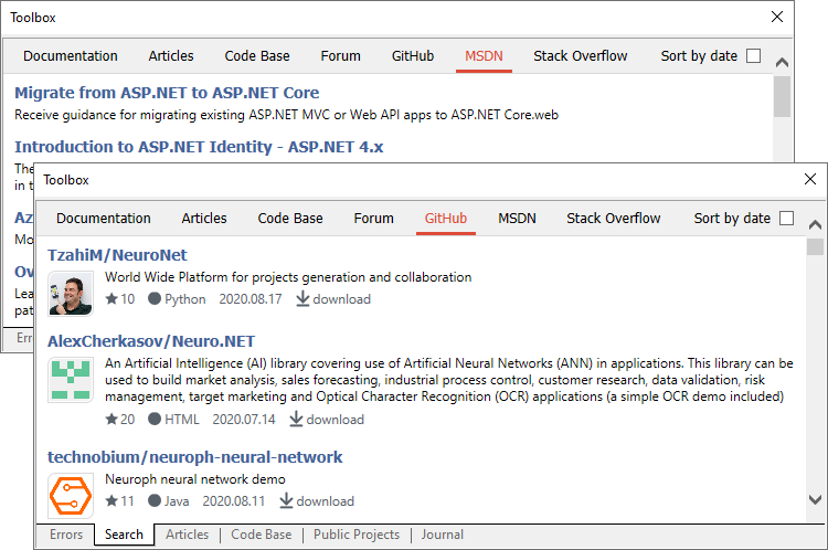 GitHub and MSDN search results