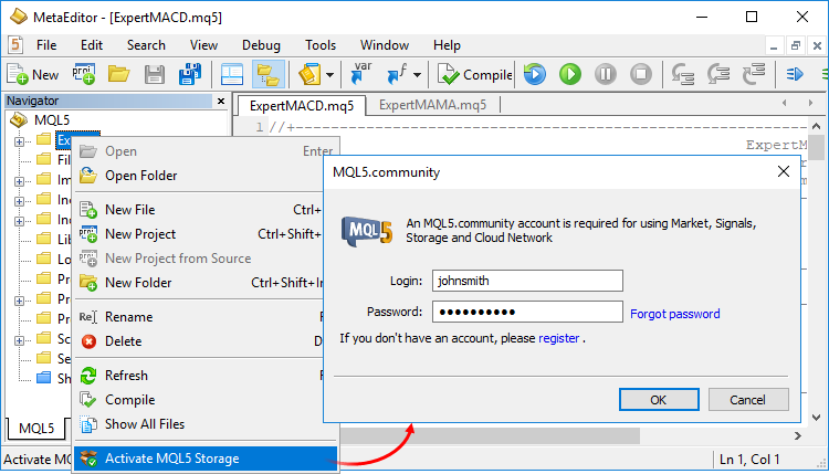 Activating the MQL5 Storage