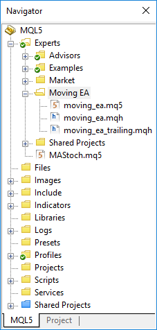 File structure in the Navigator window
