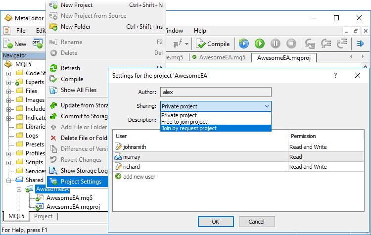 Configuring Access to the Shared Project