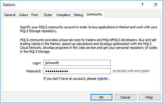 Setup of access to MQL5.community