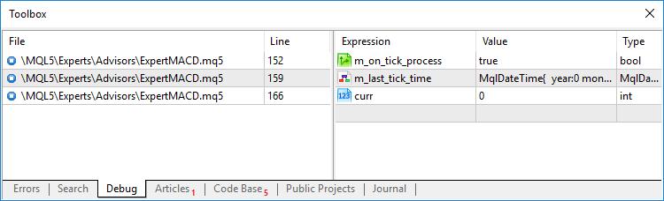 Toolbox - Workspace - MetaTrader 5