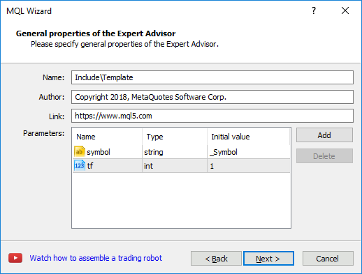 Creating an EA template - MQL4/MQL5 Wizard - MetaTrader 5