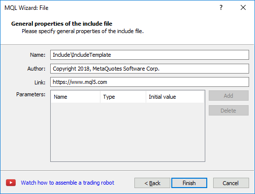 Creation of Include File