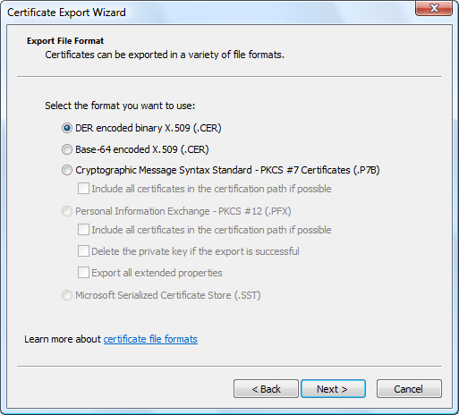 Select the certificate file format to export