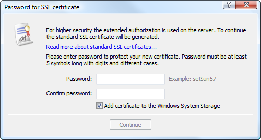 Before generating a certificate, a protective password needs to be specified