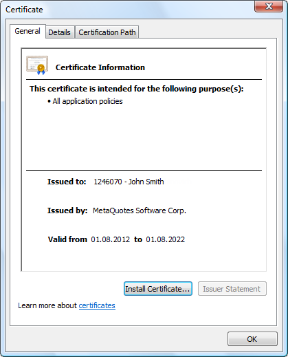 Click on a certificate on the server tab to view its details
