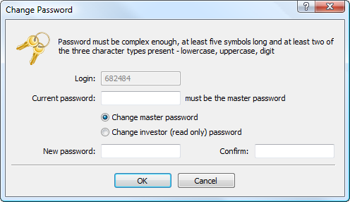 To change the password, enter the current master password
