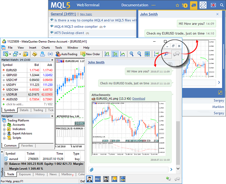 Built-in MQL5.community chat
