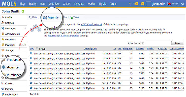 Managing agents through the MQL5.community profile