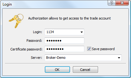In the extended authentication mode additionally specify the certificate password