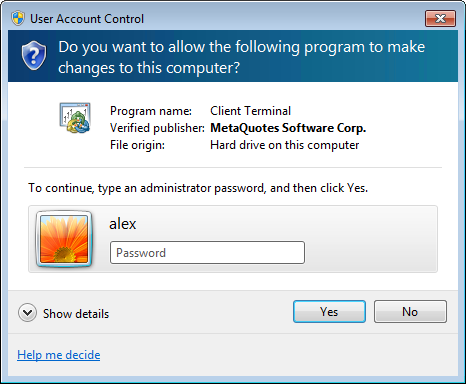 To update the platform in MS Windows Vista with UAC enabled, specify administrator account details