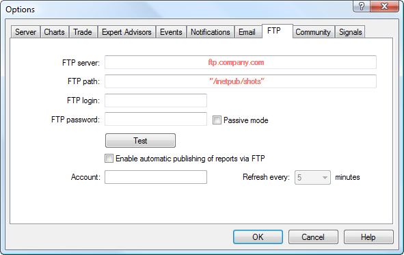 Sending reports can be configured on the FTP tab