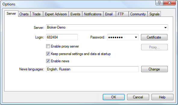 The Server tab contains settings for connection to a trading account