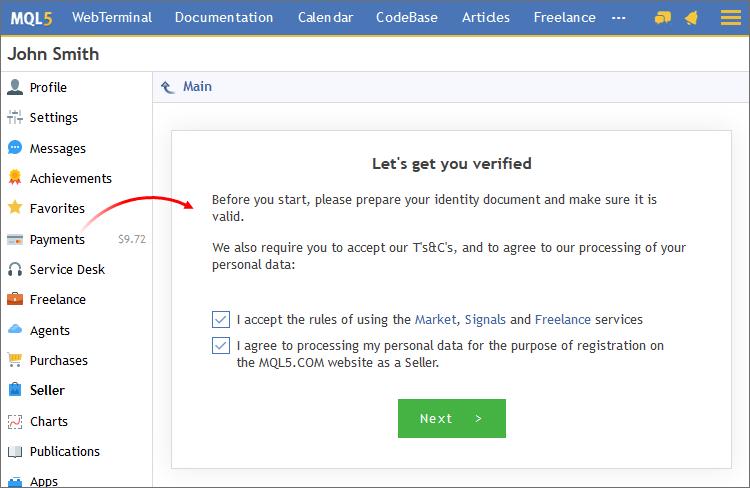 Start registration as a Signals Provider