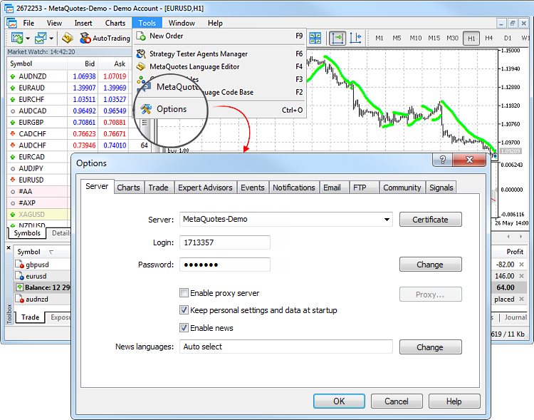 Platform Settings - Getting Started - MetaTrader 5