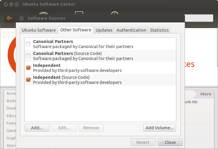 "Open Ubuntu Software Center and select ""Software Sources"" in the Edit menu"