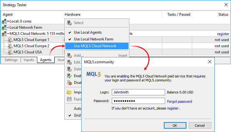 Enabling MQL5 Cloud Network
