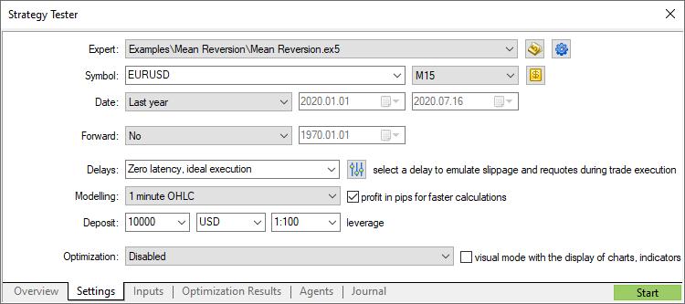 Selecting testing parameters