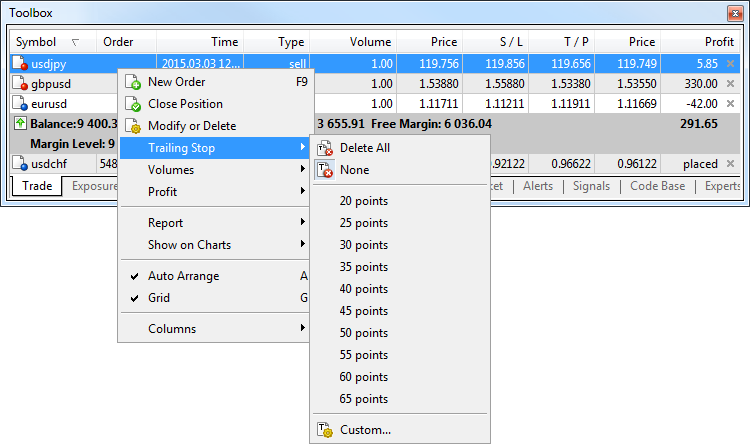 To enable Trailing Stop, open the context menu of a position and specify its value