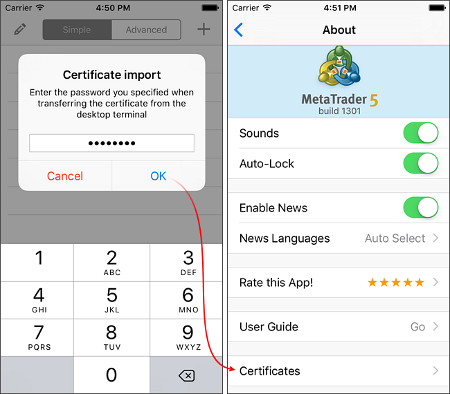 Importing the certificate to a mobile device
